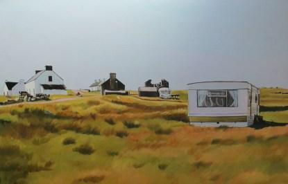Painting of caravan on Gola island, Donegal