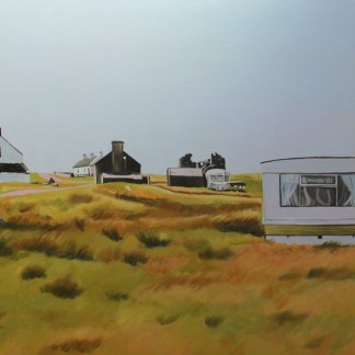 Painting of caravan on Gola island, Donegal