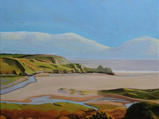 Oil paintimng of three cliffs bay
