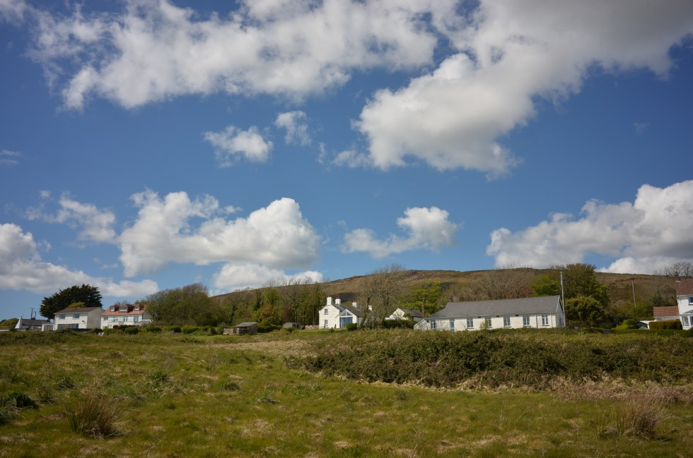 """Cefn Bryn at our backs and the """"cottages"""" of Penmaen."""