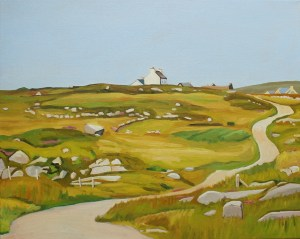 Painting of house and road in Donegal