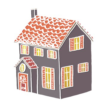 Little House - hand-drawn and digitally coloured.