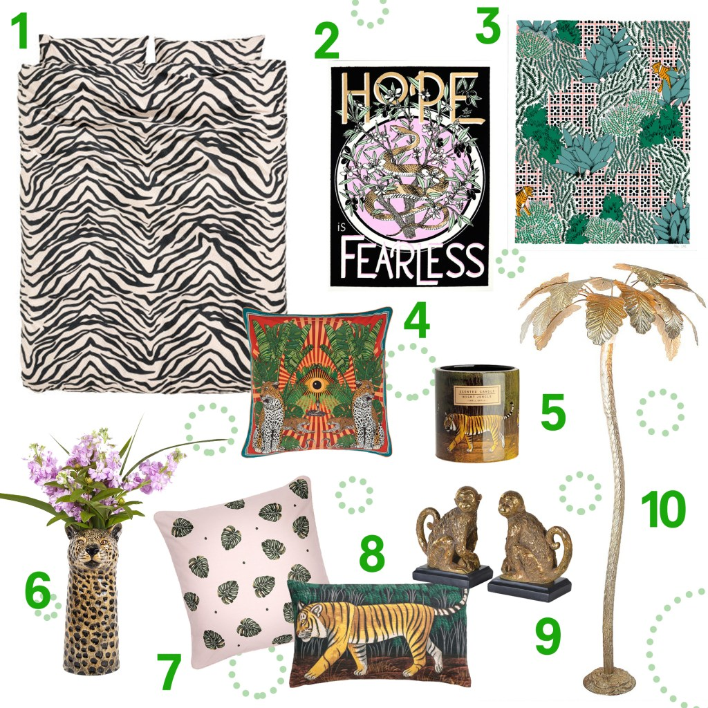 Jungle luxe trend interior products
