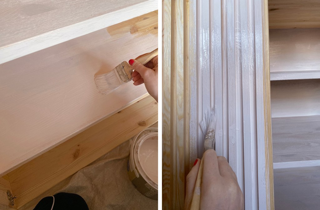 painting fluted wood DIY cabinet