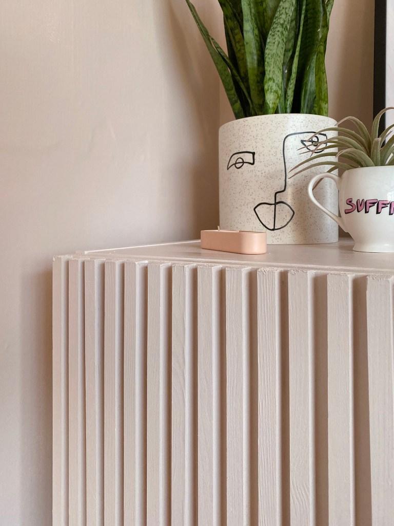 IKEA IVAR Fluted wood DIY cabinet detail