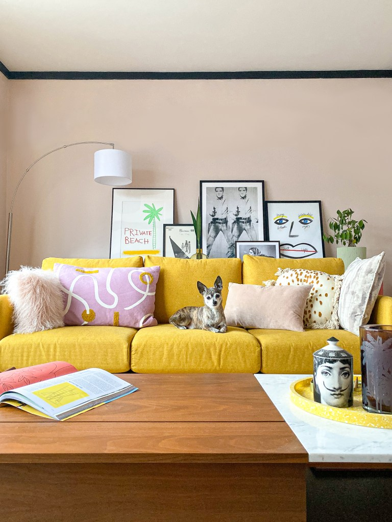 peach living room with mustard John Lewis sofa and mauve cushions