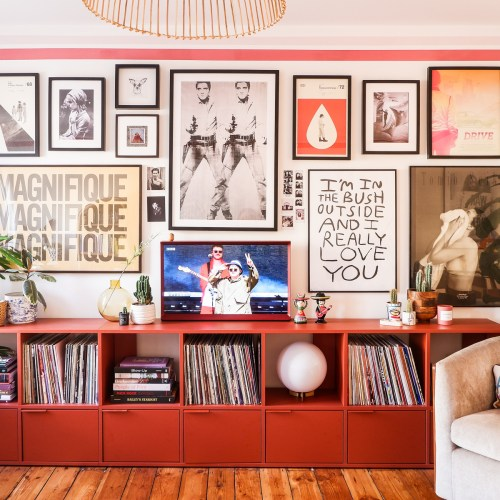pink stripes with gallery wall and talk shelving