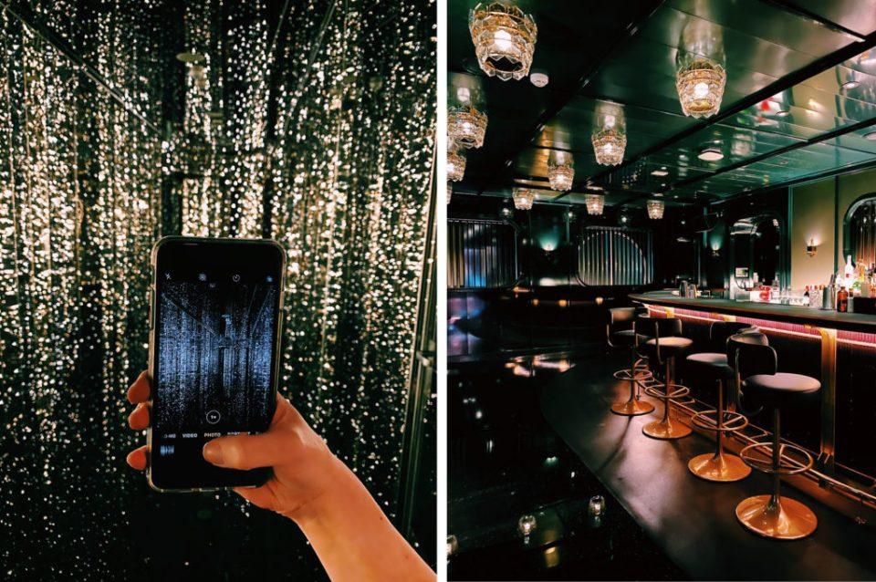 seedy bar with dark interiors