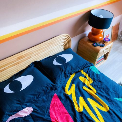 retro bedroom with lazy oaf bed linen