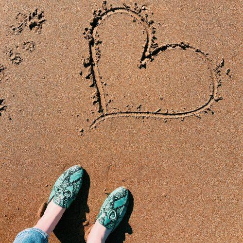 heart drawn into Margate beach sand