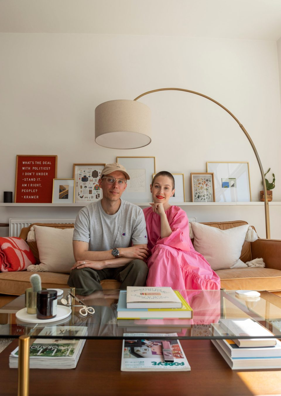 Matthew and Hollie space in their light living room