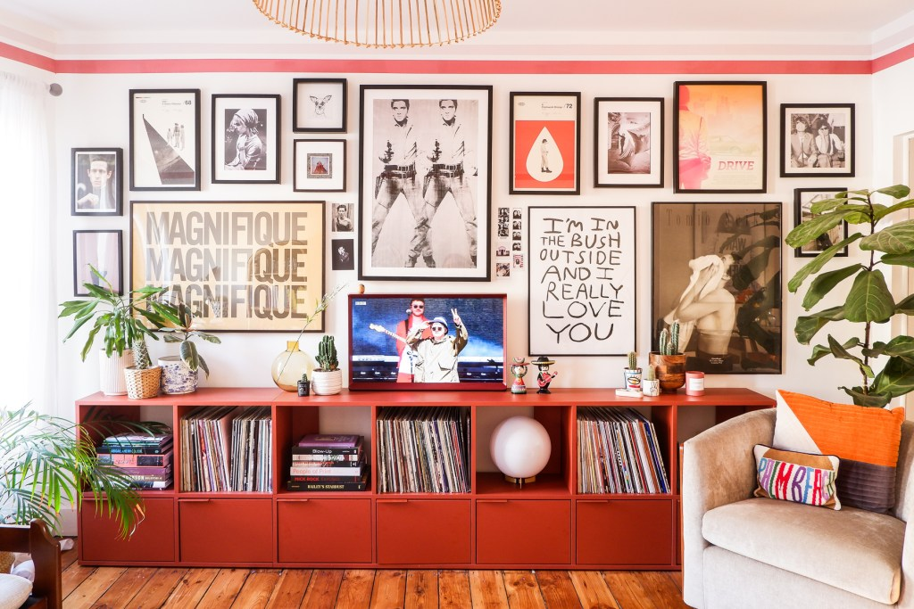 gallery wall with large framed art