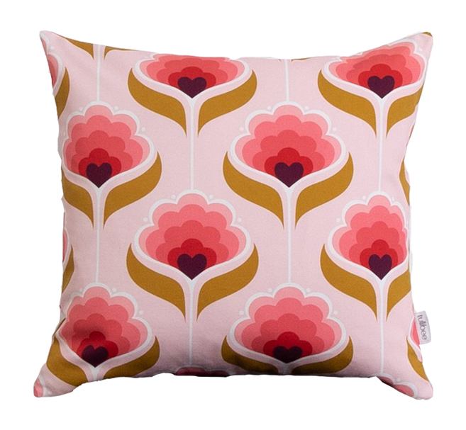 pink and brown retro cushion
