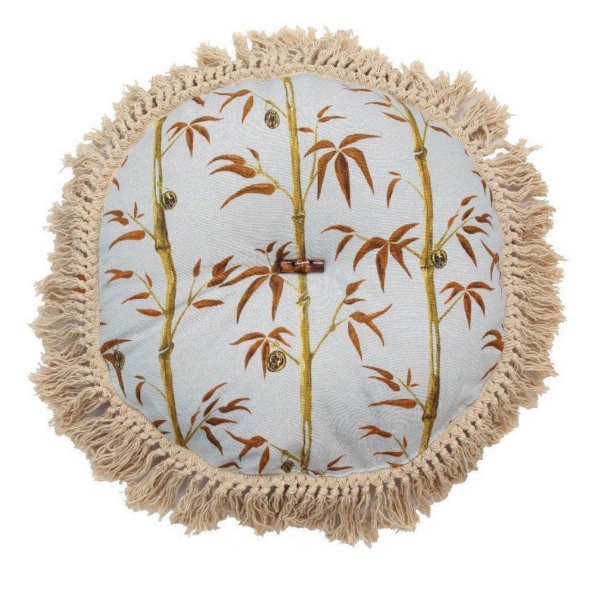 money tree round cushion with bamboo and fringing