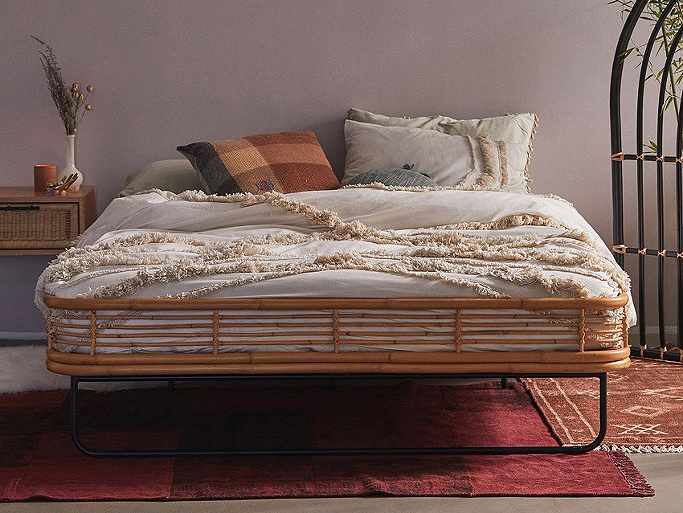 rattan and iron bed