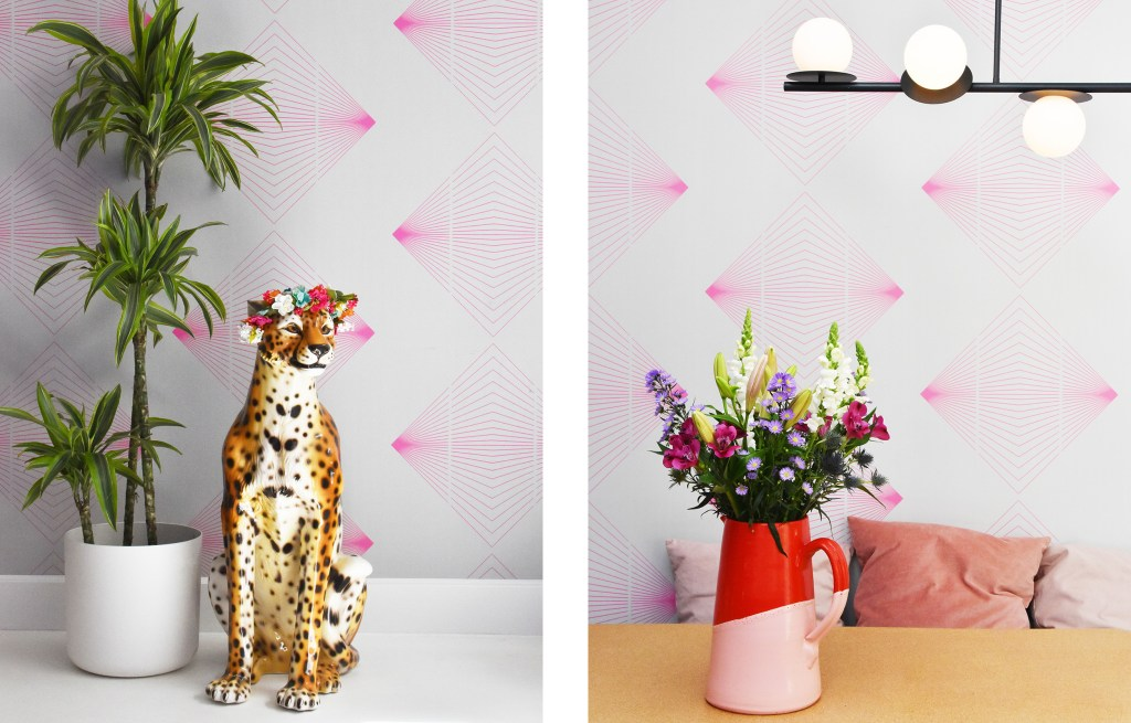 pink and white patterned wallpaper in dining room
