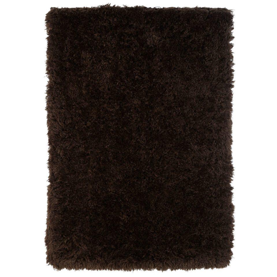 shaggy brown retro style rug