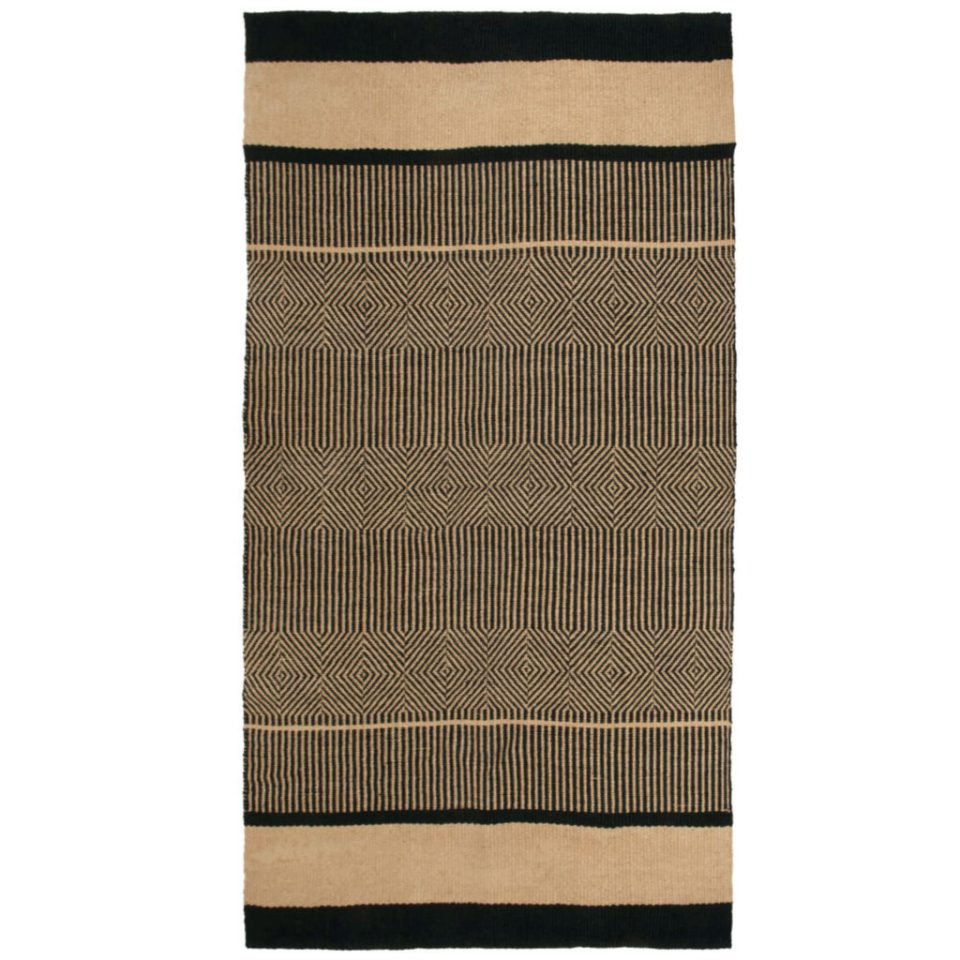 black and beige jute rug