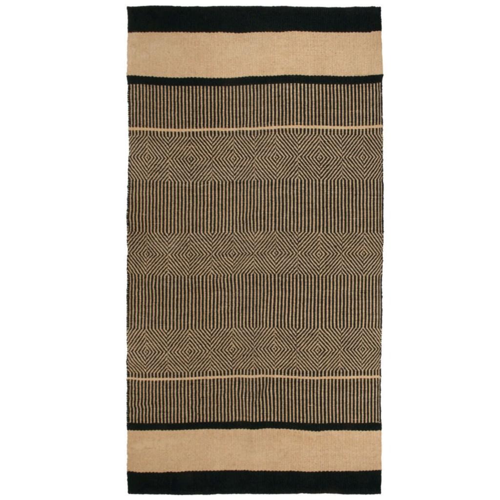 black and beige jute rug