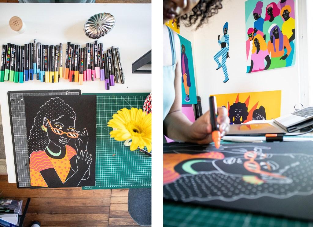 artwork on desk by Aurelia Durand