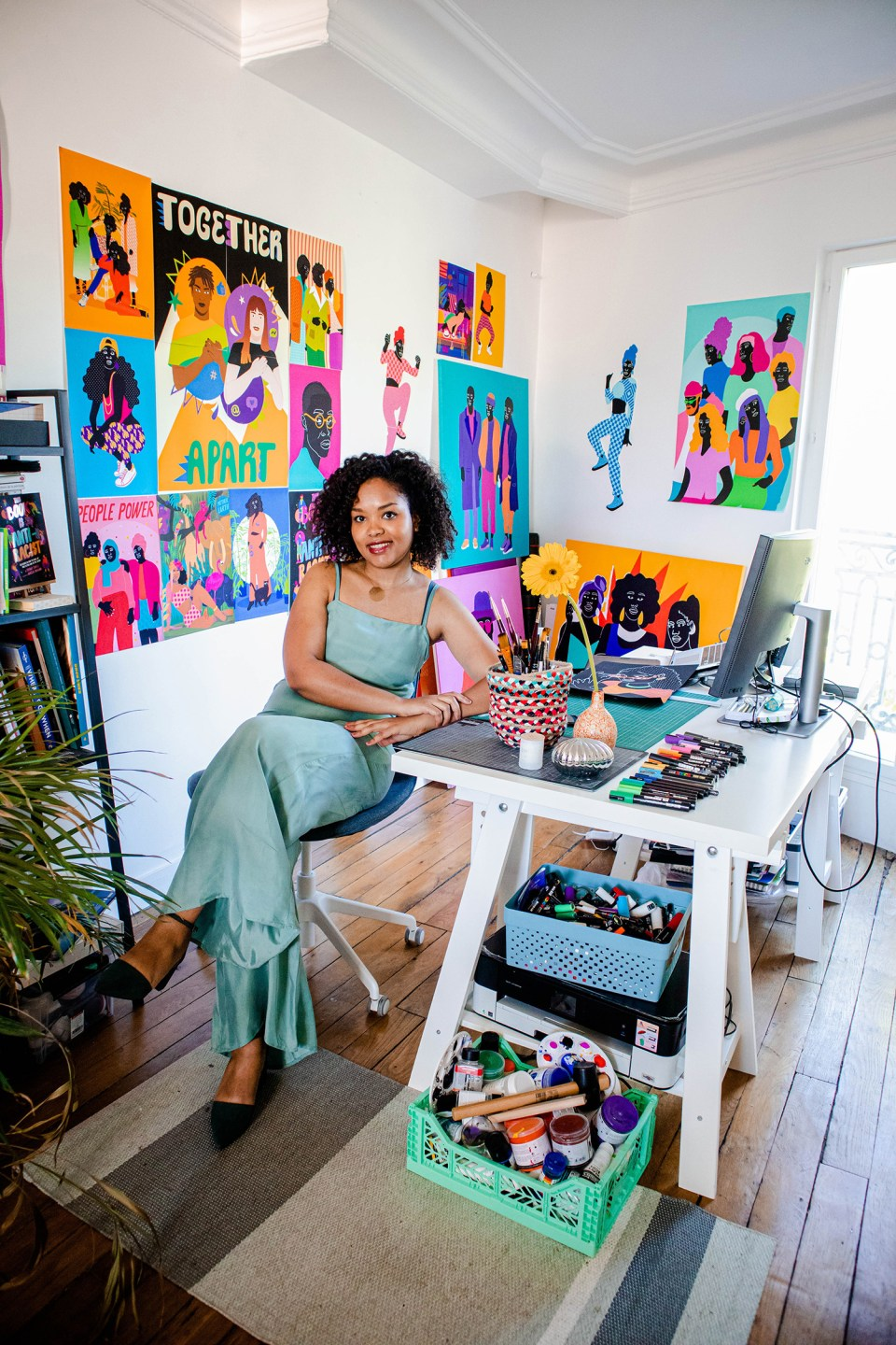 Aurelia Durand at home in her Northern Paris in her colourful studio space