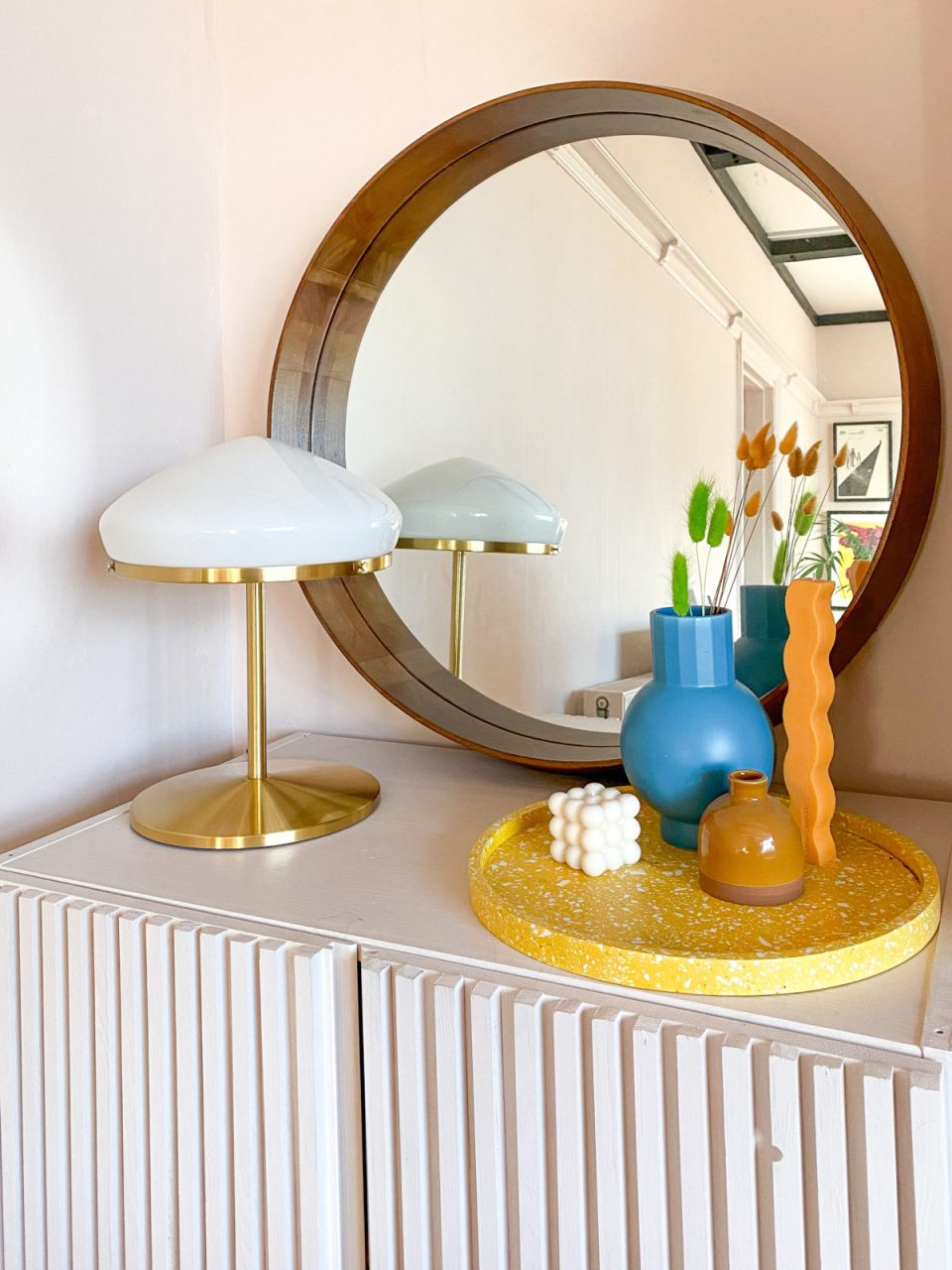 70s style Scandinavian lamp on IKEA hack fluted wood unit with vases
