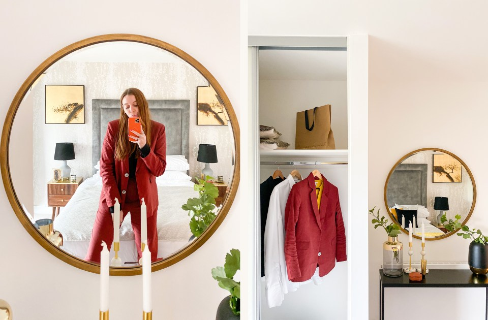 large round mirror and wardrobe