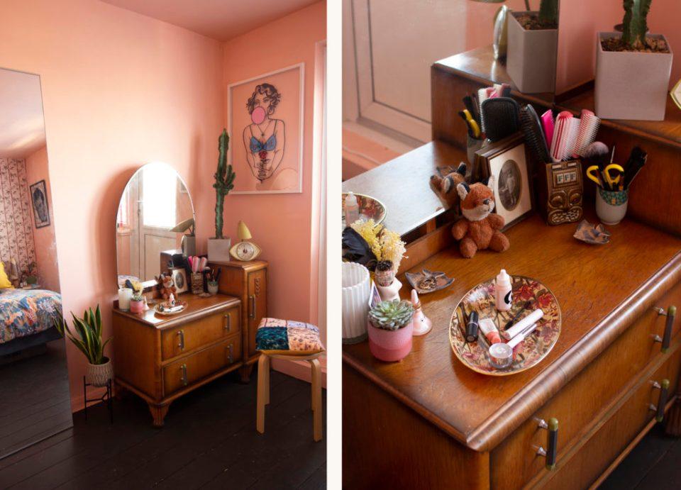 coral pink bedroom with vintage dresser