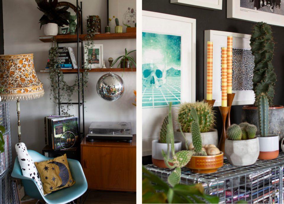 living room with pops of orange decor
