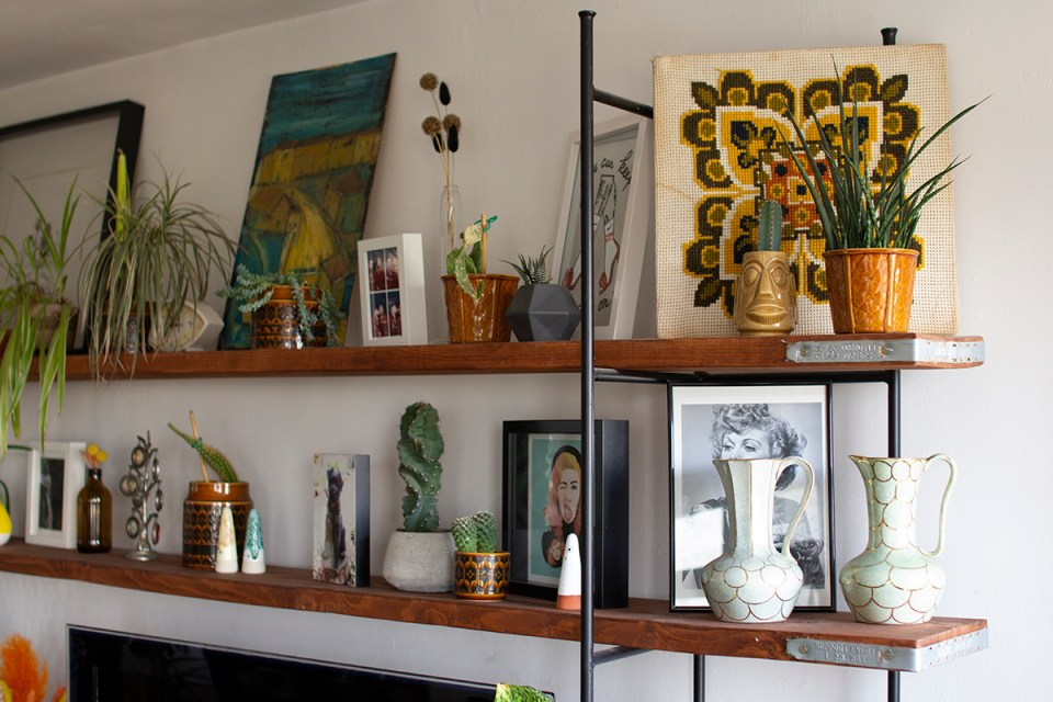 mid-century modern shelving with vintage decor