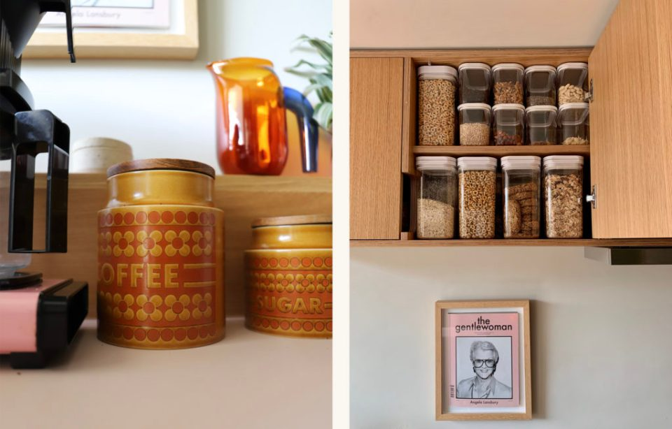 retro coffee containers and organised pantry