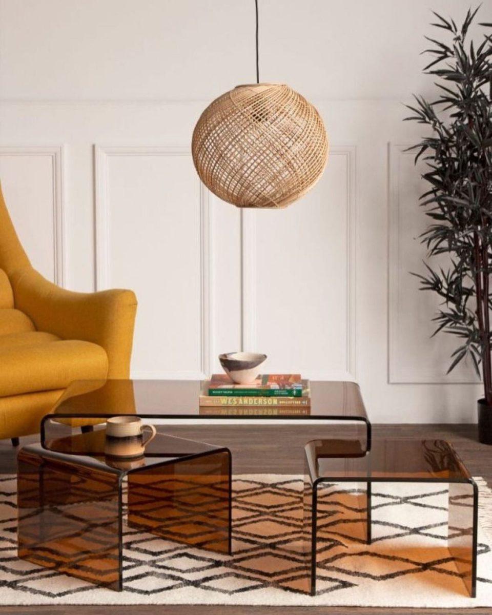 Rockett St George amber glass coffee table