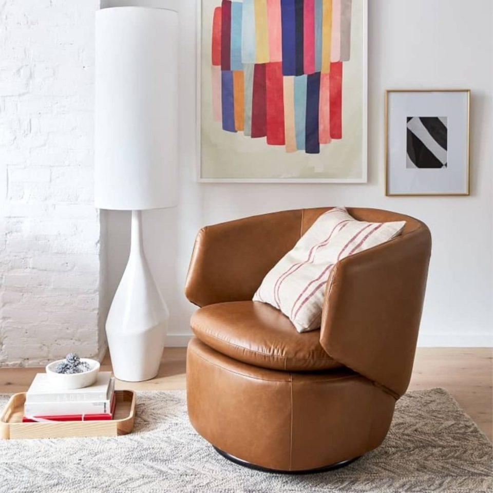 west elm leather swivel chair