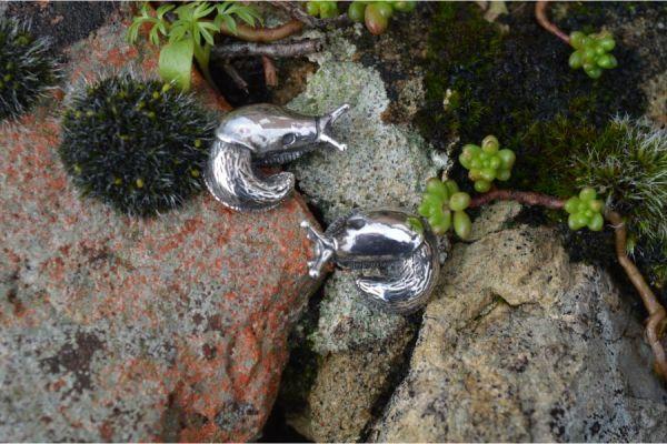 Pair of Sterling Silver Garden Slug Earrings by Emma Keating Jewellery