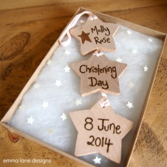 wooden star christening keepsake
