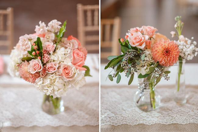 bouquets with light pink and white | photo: Photos by Kristopher | via http://emmalinebride.com