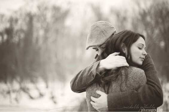 couple hugging engagement session