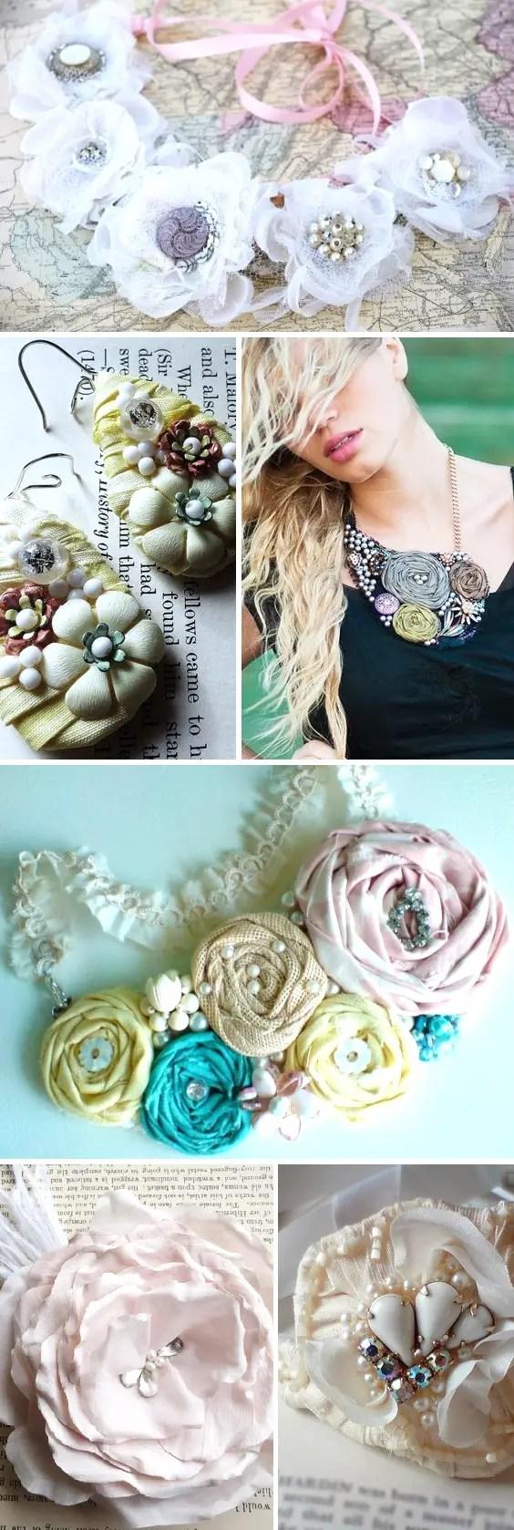 rosette bib necklaces