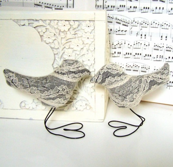 wedding cake topper birds with lace
