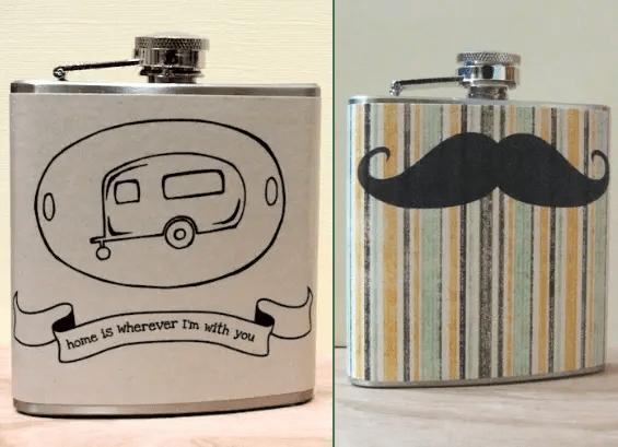 camper flask mustache flask