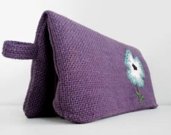 purple clutch purse