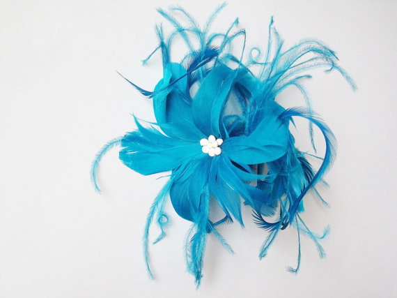 colorful bridal fascinators - something blue feather accessory