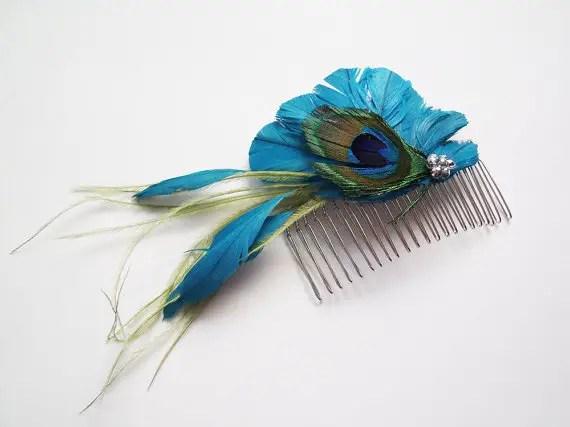 colorful bridal fascinators - blue peacock hair comb