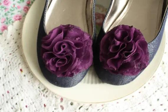 wedding shoe clip in purple