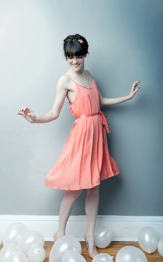 short bridesmaid dress in coral