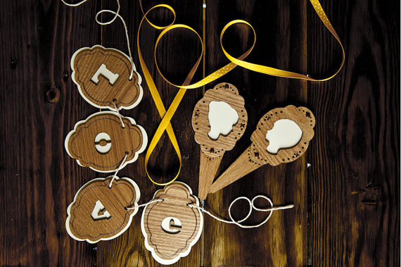 silhouettes - rustic cake toppers