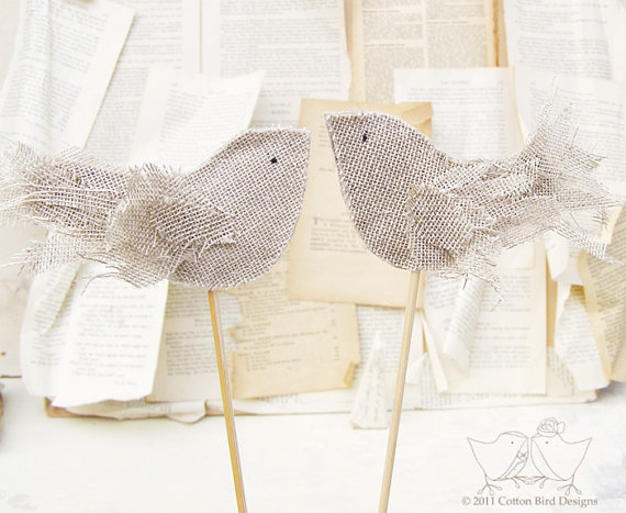 burlap wedding cake topper