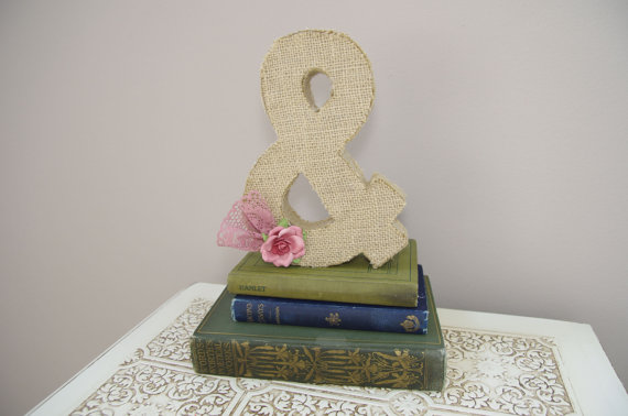 burlap wedding ampersand