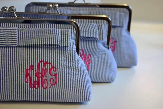 seersucker clutch purse