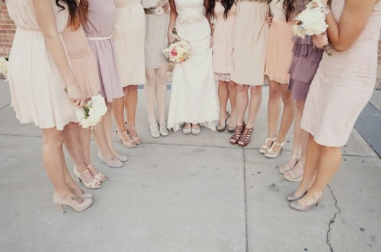 unique bridesmaid dresses - mismatched-bridesmaid-dresses